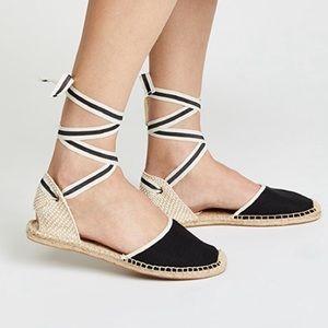 Soludos 8 Lace Up Black Espadrille Sandals